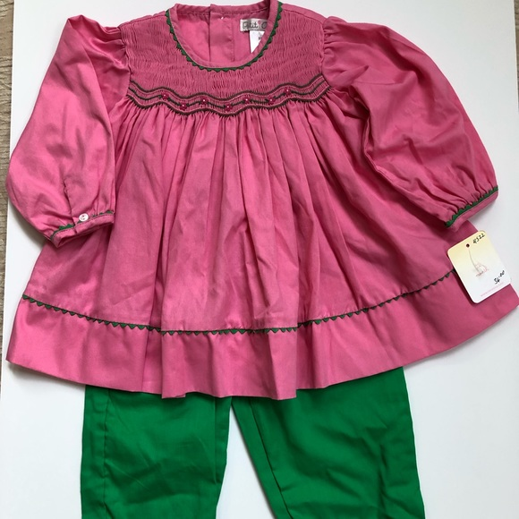 Petit Ami Outfit Boys Size 3T Smocked White Red Green Longalls NEW NWT